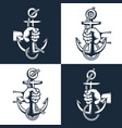 sailor hand holds an anchor with rope vector image