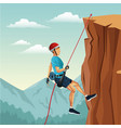 scene landscape man mountain descent with vector image vector image