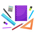 school supplies notebook and pencil ruler pen vector image vector image