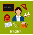 School teacher with education icons vector image