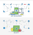 set of flat line business website banner vector image vector image
