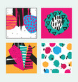 set with square bright cards drawn in graphic vector image vector image