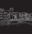 sketch of the street of girona vector image vector image