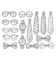 sketched mens accessories glasses watches and vector image vector image