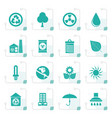 stylized ecology and nature icons vector image