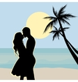 Sunset silhouettes of a boy and girl sitting vector image vector image