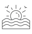 sunset thin line icon sunrise and ocean sun sign vector image
