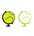 Tennis ball Globe World game Sports accessory as vector image vector image