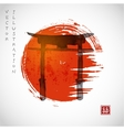Torii gates and red rising sun vector image