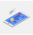 tracking shipped box icon isometric style vector image