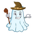 witch cute ghost character cartoon vector image