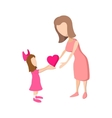 Girl giving a heart to her mother cartoon icon vector image