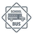 school bus logo simple gray style vector image