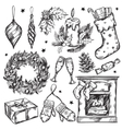 Sketch Christmas Gifts Icon Set vector image