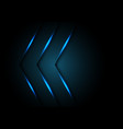 abstract blue light arrow direction on black vector image vector image