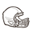 american football helmet isolated coloring book vector image