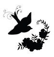 black silhouette bird and flower composition vector image vector image