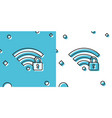 black wifi locked icon isolated on blue and white vector image vector image
