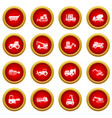 building vehicles icon red circle set vector image vector image