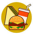 cartoon fast food combo icon - hamburger sandwich vector image