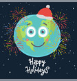 christmas planet card merry and happy vector image vector image