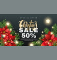 christmas sale banner with fir tree branches vector image vector image