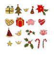 christmass set of patch logo omela gift pig vector image