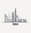 Dubai black and white lines view vector image vector image