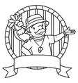 emblem of funny zoo keeper with parrot vector image vector image