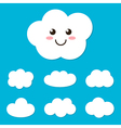 Flat design cartoon cute cloud character and set vector image vector image