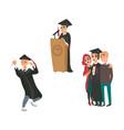 flat graduates character scenes set vector image