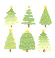 flat style bright christmas tree collection vector image vector image