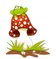 Frog sitting on a mushroom vector image