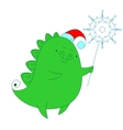 Funny dragon with snowflake vector image