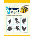 Game template for shadow matching fish vector image