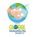 global handwashing day logo for greeting card vector image vector image
