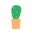 green grown cactus with sharp spikes in clay pot vector image