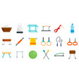 gymnastics equipment icons set flat style vector image vector image