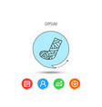 gypsum or cast foot icon broken leg sign vector image
