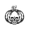 halloween jack o lantern pumpkin skull silhouette vector image