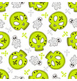 halloween seamless pattern with skulls and ghosts vector image vector image