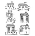 hand draw of house set collection vector image vector image