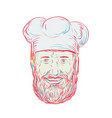 hipster baker cook chef head vector image vector image