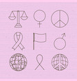 human rights and peace set icons vector image