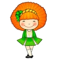 Irish dancing girl in green traditional dress vector | Price: 1 Credit (USD $1)