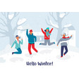 joyful characters friends jumping in the snow vector image vector image