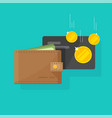 leather wallet with money and credit card cash vector image vector image