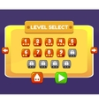 level select game menu interface panels ui buttons vector image
