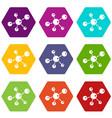 molecule research icons set 9 vector image vector image