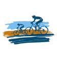 mountain bike cyclists grunge stylized vector image vector image